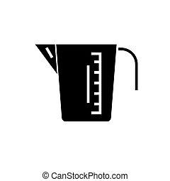 tasse mesurer, illustration, isolé, signe, vecteur, arrière-plan noir, icône