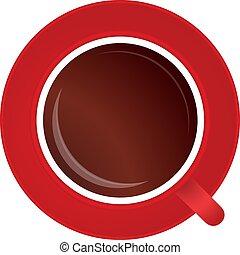 tasse, ou, rouge noir, entiers, café thé, blanc