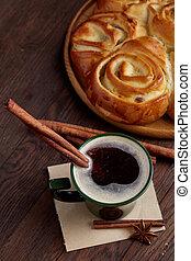 tasse, pain, café, vendange, anis, foyer, fond, sélectif,...