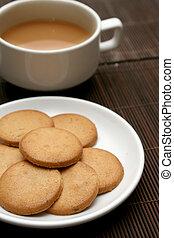 tasse thé, à, biscuits