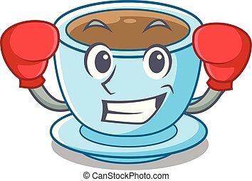 tasse, thé, boxe, dessin animé, délicieux, lait