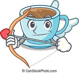 tasse, thé, cupidon, lait, délicieux, dessin animé