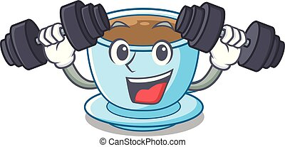 tasse, thé, dessin animé, délicieux, fitness, lait
