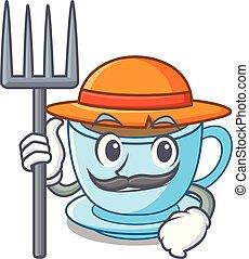 tasse, thé, dessin animé, délicieux, paysan, lait