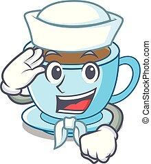 tasse, thé, dessin animé, marin, délicieux, lait