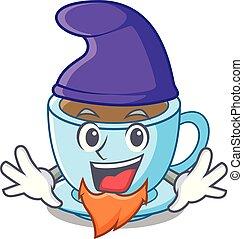 tasse, thé, elfe, dessin animé, délicieux, lait
