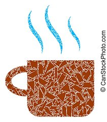 tasse, thé, icône, chaud, tessons, mosaïque