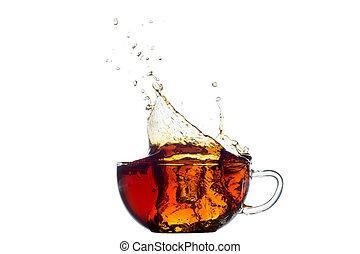 tasse, thé, isolé, éclaboussure, blanc dehors