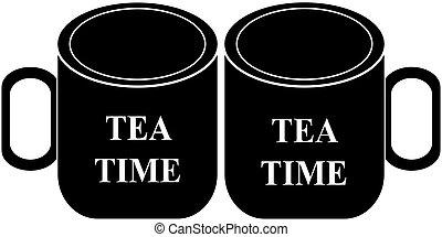 tasse, thé, isolé, fond, blanc, icône