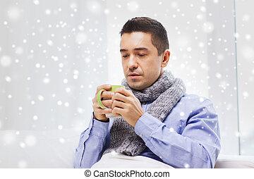 tasse, thé, malade, grippe, chaud, maison, boire, homme