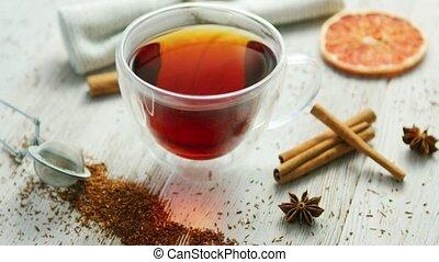 tasse thé, noir, verre