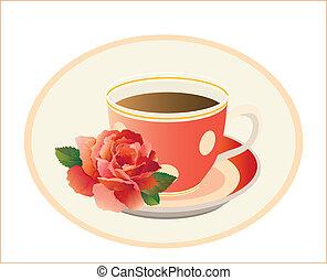 tasse thé, rose