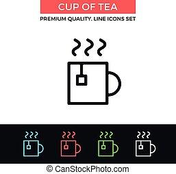 tasse, thé, vecteur, mince, icon., ligne, icône