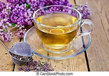 tasse, thé, verre, origan, herbier, passoire