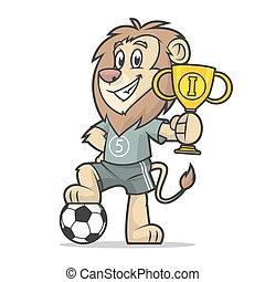 tasse, tient, lion, endroit, footballeur, premier