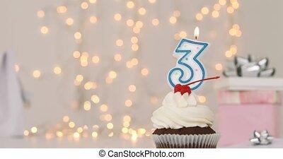 tasse, trois, nombre, gâteau anniversaire, bougie