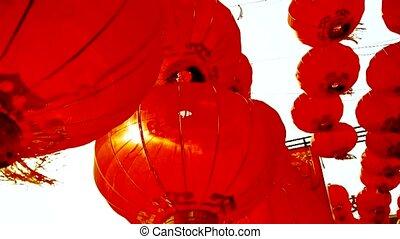 tassel, lantaarns, wind, rood, slingeren