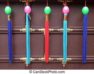 Tassels on an Asian wedding carriage