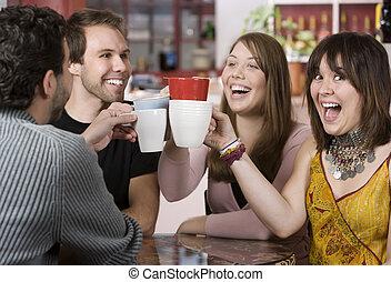tassen, bohnenkaffee, toasten, friends, junger