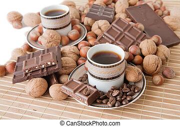 tasses café, chocolat