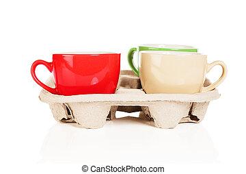 tasses café, fond blanc, cupholder