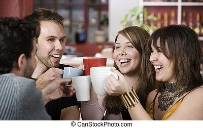 tasses, café, grillage, amis, jeune