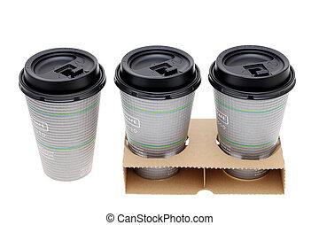 tasses, café, papier, support