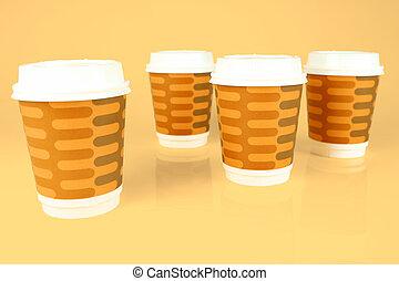 tasses café, plat à emporter