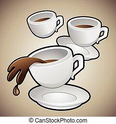 tasses café, soucoupes