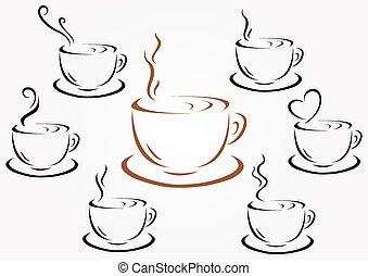 tasses café, thé, ou