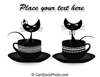 tasses, chats, noir, deux, séance