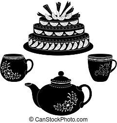 tasses, contours, théière, gâteau