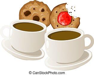 tasses, cookies., café, vecteur, deux