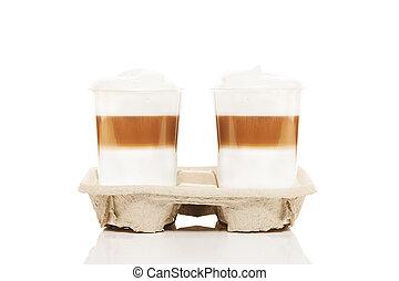 tasses, deux, latte, macchiato, fond, cupholder, aller,...