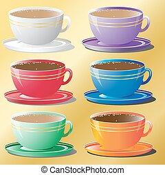 tasses, différent, ensemble, couleurs