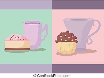 tasses, ensemble, petits gâteaux, délicieux