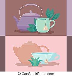 tasses, herbes, ensemble, théières, thé
