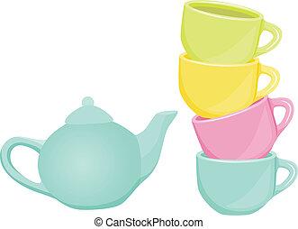 tasses, service thé, -, théière