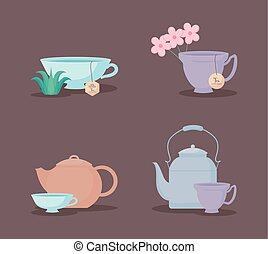 tasses, service thé, théières, icône