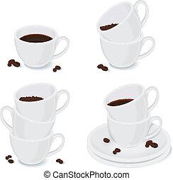 tasses, te, ensemble café, blanc