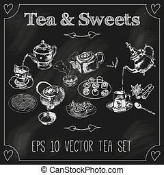 tasses, théières, tableau noir, ensemble
