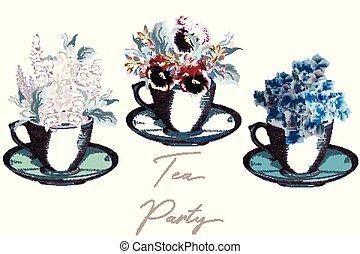 tasses, vendange, vecteur, design.eps, collection