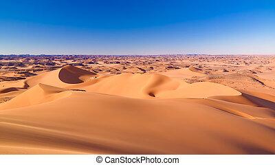 tassili, argelia, vista, ocaso, merzouga, parque, nacional,...