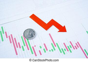 tasso, chart., depreciation., scambio, rublo