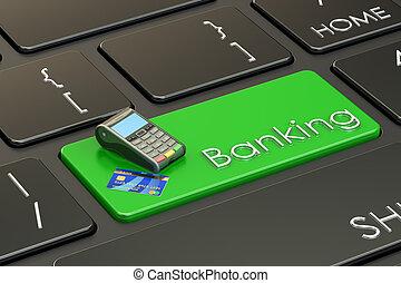 tastatur, übertragung, begriff, 3d, bankwesen