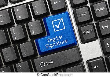tastatur, digital, -, key), unterschrift, begrifflich, (blue