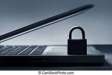 tastatur, laptop, schloß