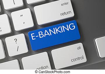 tastatur, mit, blaues, tastenfeld, -, e-banking., 3d, render.