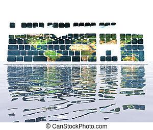 tastatur, mit, erde, beschaffenheit
