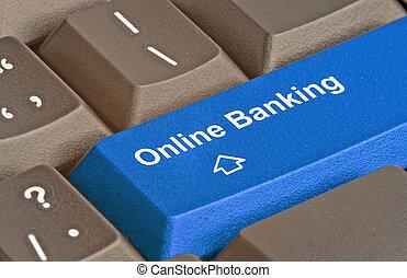 tastatur, mit, schlüssel, für, e-bankwesen